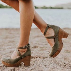 Shoes - Olive Green Cross Strap Clogs